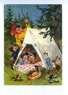 141871 Dressed HEDGEHOG Family TRAVELLERS Tent Old Colorful PC