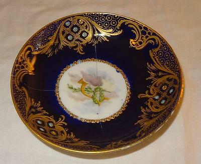 19th Century French Porcelain Sevres Style Porcelain Jewelled Saucer