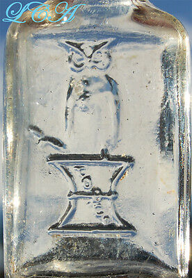 Killer looking small OWL DRUG Co bottle w/picture owl - tiny HALF 1/2 OUNCE size