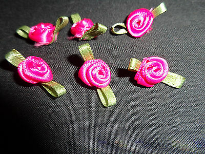 Cerise Satin Ribbon Rose Flowers x 18