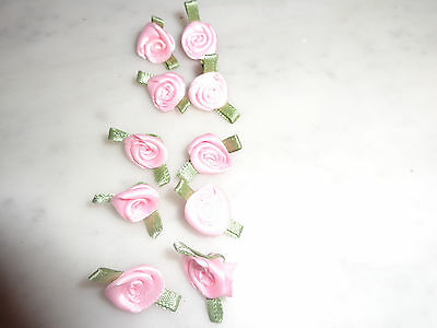 Pale Pink Satin Ribbon Rose Flowers x 15