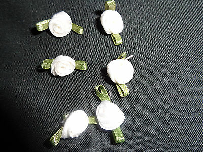 White Satin Ribbon Rose Flowers x 15,
