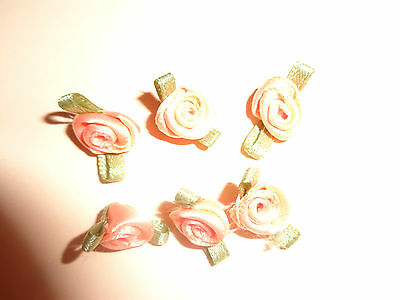 Peach X 12  & Pale yellow  X 7 = 19 Satin Ribbon Rose Flowers