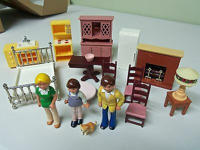 Vintage 1977-80 Fisher Price Doll House Miniature People, Pets. Furniture Lot