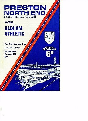 Preston North End v Oldham Athletic 1968/69 league cup 1st round