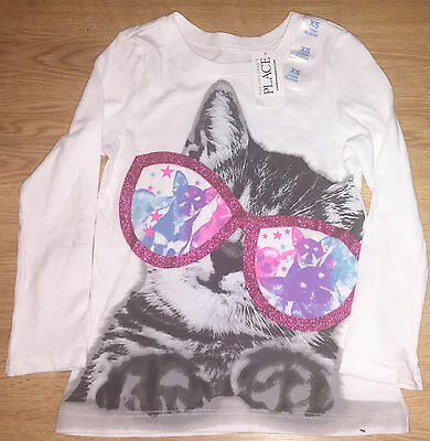 The Children's Place Girls Kitten Glitter Graphic Tee Size Extra Small 4 NWT