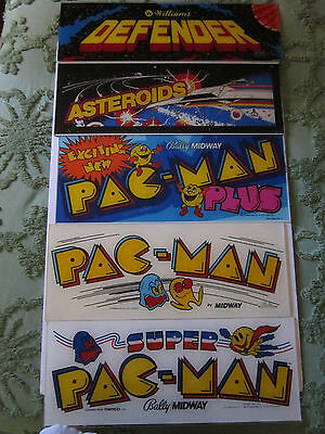 Lot Of 5 Rare Midway Arcade Game Signs,pac Man,defender,astroids...