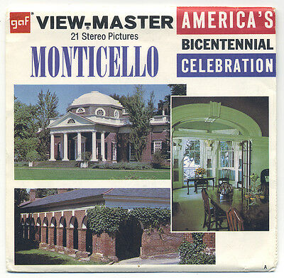 Monticello Home of Thomas Jefferson 1976 GAF View-Master Packet A-827