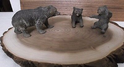 Unusual Set Of 3 Antique 1920's Momma Bear W/cubs Figurines  Very Detailed
