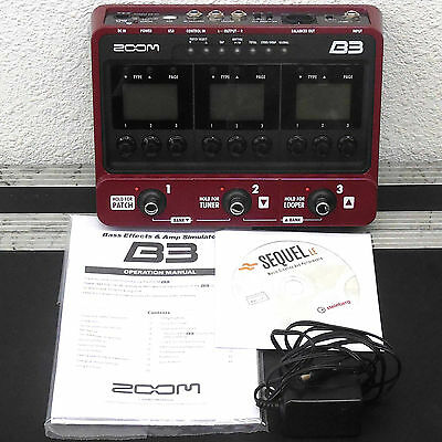Zoom B3 Bass Effects and Amp Simulator Guitar Pedal B 3 Effect Engine Stomp Box