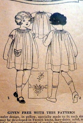 RARE VTG 1920s GIRLS EMBROIDERED DRESS Sewing Pattern 6