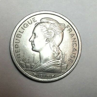FRENCH AFARS AND ISSAS 1975 1 Franc coin nice uncirculated