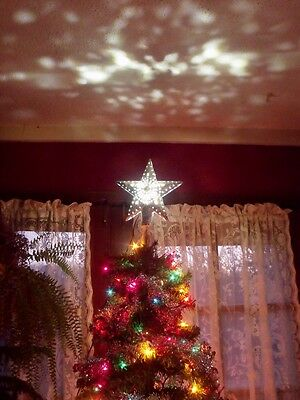 Christmas Lighted Silver Star Light Show Effects Holiday Tree Topper Top Disco