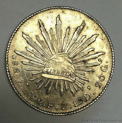 1892 Zs FZ 8 Reales Zacatecas Mexico Silver Coin Slider Uncirculated Condition