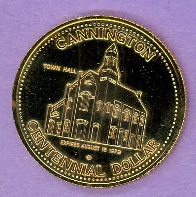 1978 Cannington Ontario Trade Token or Dollar Town Hall Coat of Arms GOLD PLATE