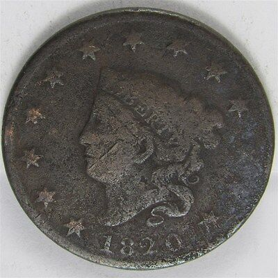 1820 Small Date Coronet Head Large Cent 1c Type Coin