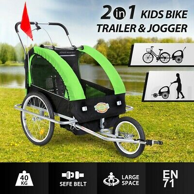 Kidbot 2IN1 Kids Bike Trailer Child Bicycle Pram Stroller Children Jogger GREEN