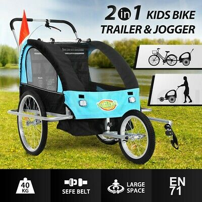 Kidbot 2 IN 1 Kids Bike Trailer Child Bicycle Pram Stroller Children Jogger BLUE