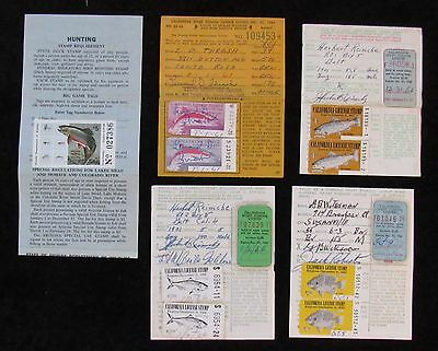 1961 to 1987 California and Nevada Fishing Stamps on License