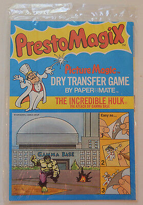 Vintage 1978 Marvel PRESTO MAGIX Picture Magic Dry Transfer Game Incredible Hulk