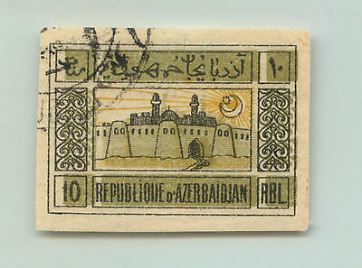 Azerbaijan, 1919, SC 8, used, green, shifted, thin place. rta1947a7
