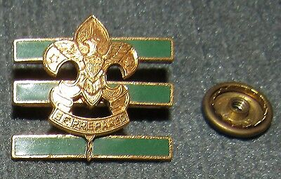 Large Junior Assistant Scoutmaster Collar Brass Pin w/ Screwpost Back Dark Green