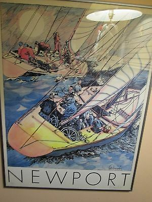 VINTAGE AMERICAS CUP NEWPORT  RACE  POSTER  signed