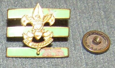 Large Junior Assistant Scoutmaster Collar Brass Pin Screwpost Back Light Green 2