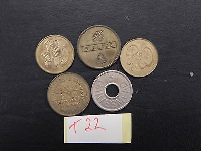 Old Tokens Lob Lot Of 5  T22