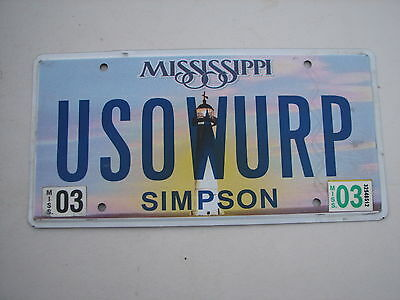 "MISS  Vanity License Plate ""U SO WURP"" YOU ARE SO WURPRED WARPED  USO WURP"