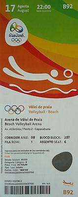 TICKET 17.8.2016 Olympia Beachvolleyball Finale Women's Gold Deutschland # B92