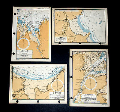 Planning the D-DAY Invasion of FRANCE COASTLINE - 4 rare WW2 Admiralty maps 1943