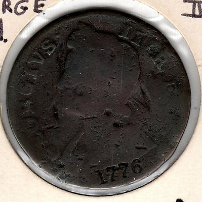 Interesting George II 1/2 Penny Counter Stamped 1776