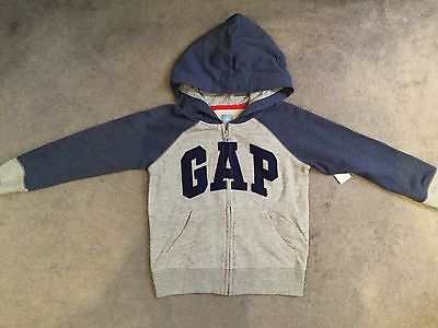 Gap-Light Grey Hoodie With Blue Gap Logo Across & Blue Sleeves & Hood -Bnwt