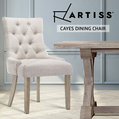 Artiss CAYES Dining Chair Linen Fabric French Provincial Wood Retro Kitchen