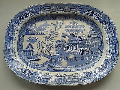 Traditional vintage Willow pattern meat plate.  Transfer printed