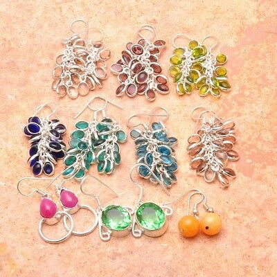 """925 Sterling Silver Plated 10X Wholesale Grape Glass Earrings 2""""-1 1/8"""""""