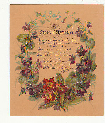 A Song of Spring Verse Flowers Gold Vict Card c 1880s
