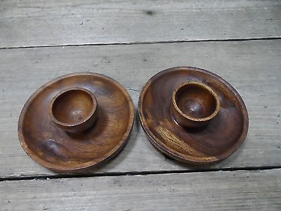 Pair of Wooden Olive Dishes