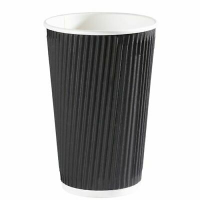 100 X Ripple Black 16oz Kraft Cup & Lids Insulated Tea Coffee Disposable Cups