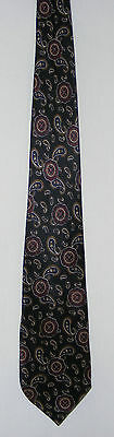 Vintage 80s Silk Tie: Ochre/ White Paisley on Black with Red Notes