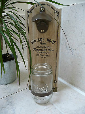 Shabby Wooden Wall Mounted Bottle Opener Unique Christmas Gift  New Boxed