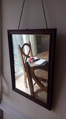 Edwardian carved Oak Wood Frame Mirror and original hanging chain