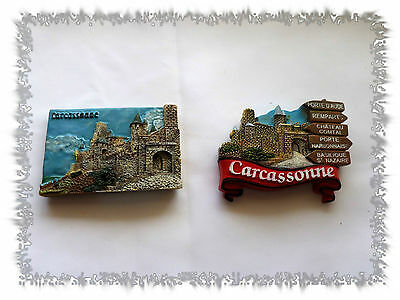 Lot de 2 Aimants Magnets Cité de Carcassonne France  Résine Neufs