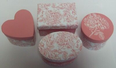 Set of 4 Pink Floral design Valentines day gift boxes -Assorted shapes & sizes