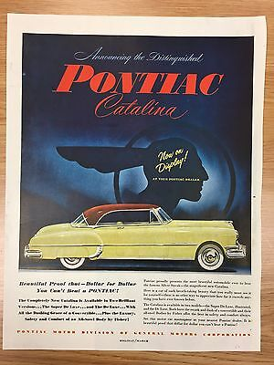 RARE 1950 PONTIAC Catalina Dollar For Dollar Large Colour Vintage Car Advert L1