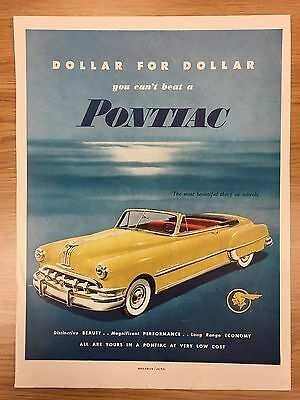 RARE 1950 PONTIAC 'Dollar For Dollar Series' Large Colour Vintage Car Advert L4