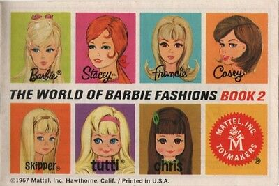 Vintage Catalogue - Mattel Barbie Doll -The World Of Barbie Fashions Book 2 1967