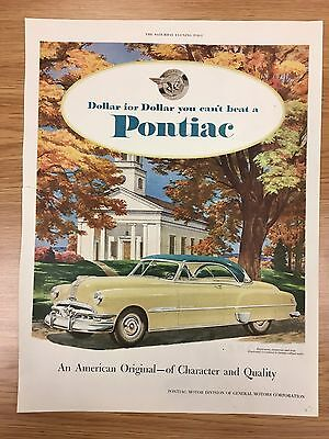RARE 1951 PONTIAC 'Dollar For Dollar Series' Large Colour Vintage Car Advert L10