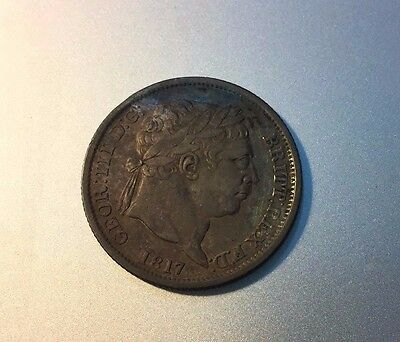 1817 King George Iii Shilling Silver Coin.